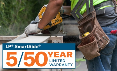 Man cutting boards with warranty logo overlay