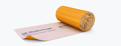 A roll of adhesive material with LP WeatherLogic stamped on it